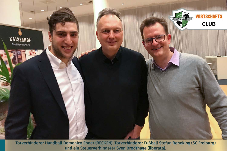 Torverhinderer Handball Domenico Ebner (RECKEN), Torverhinderer Fußball Stefan Beneking (SC Freiburg) und ein Steuerverhinderer Sven Brodthage (liberata)